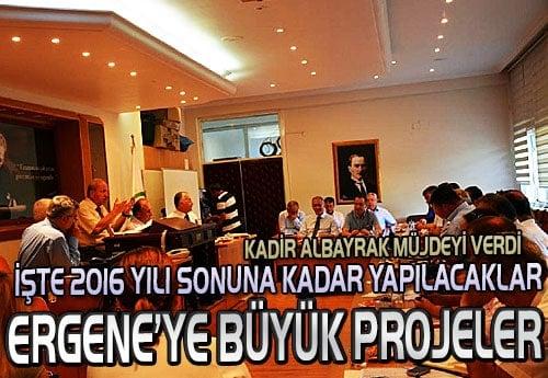 Ergene'ye 2016 yılı sonuna kadar yapılacak projeler belirlendi