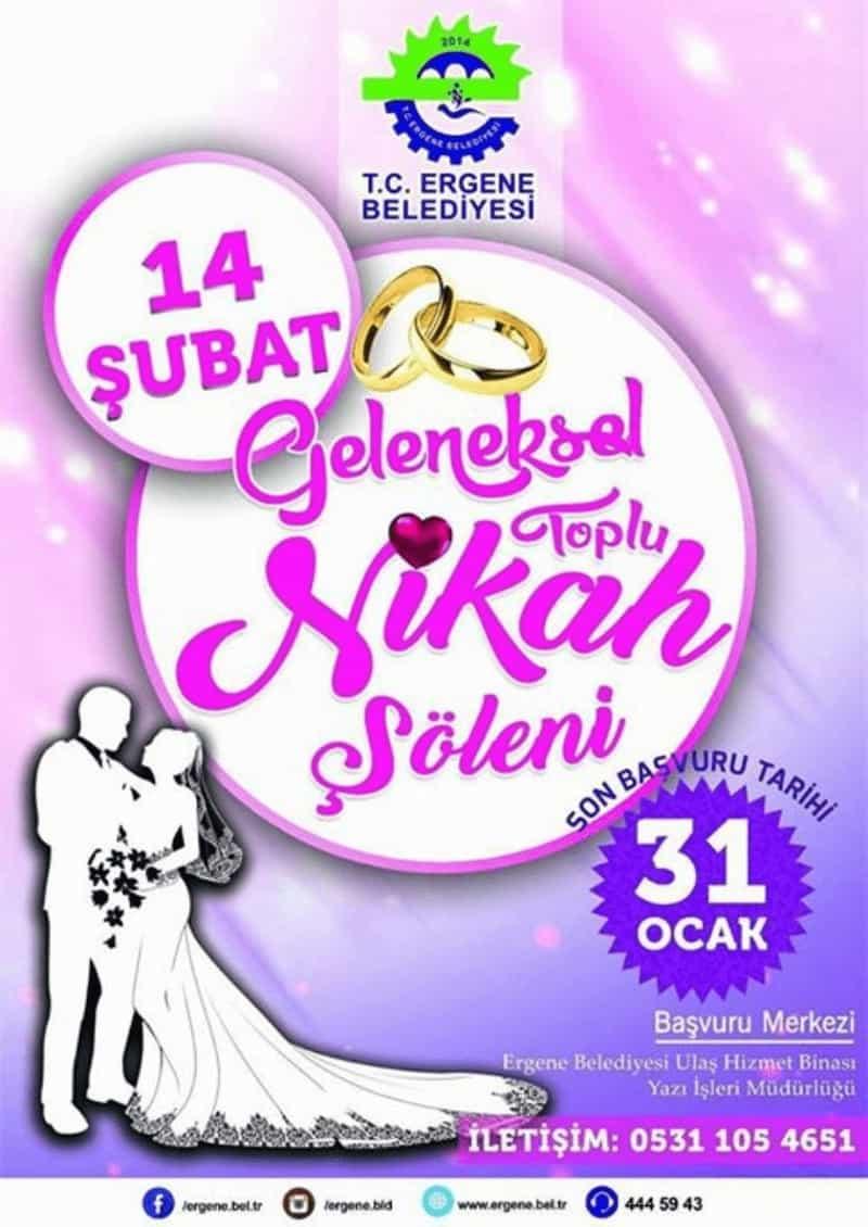 Ergene Belediyesi'nin geleneksel toplu nikah töreni için kayıtlar başladı.