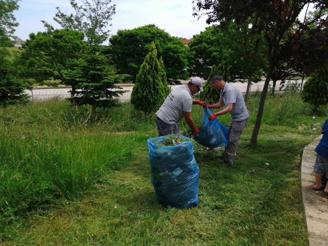 Ergene'de Çim Biçme ve Yabani Ot Temizliği Devam Ediyor